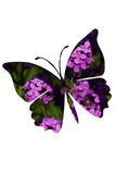 Papercut butterfly over blooming flowers Royalty Free Stock Photo