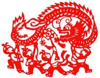 Papercut chino ilustración del vector
