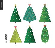Papercut - christmas trees set. Papercut - decorated christmas trees set. 3D cut out vector imitation Royalty Free Stock Photography