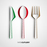 Papercut cutlery, Vector restaurant card menu Royalty Free Stock Photography