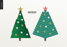 Papercut - christmas trees set. Papercut - decorated christmas trees set. 3D cut out vector imitation Stock Images