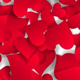 Papercut hearts Valentine s day card background. Small paper confetti heartshaped. Paper hearts Valentines day card on white background. Vector abstract Royalty Free Stock Photography