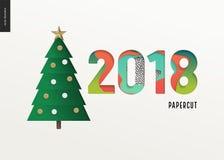 Papercut - julträd och siffror 2108 stock illustrationer