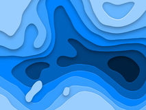 Papercut multi layers texture blue background of 3D paper cut vector effect Stock Images