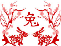 Papercut of Rabbit Lunar year Royalty Free Stock Image
