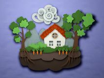 Papercut small house postcard. Paper craft landscape. Origami cr Stock Images