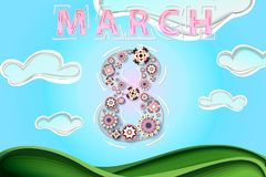 Papercut spring scenery as woman`s day poster, banner, background, sales offer. Stylish papercut flowers in calm colors neatly org. Anized in number eight, paper Stock Photo