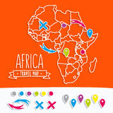 Papercut style travel map of Africa with pins Royalty Free Stock Images