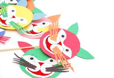 The papercut tiger faces. The art papercut tiger faces on childhood Stock Images