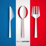 Papercut-Tischbesteck auf Frankreich-Flagge, Vektorrestaurantkarten-Menü-DES Stockfotos