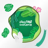 PaperCut tropical Imagens de Stock Royalty Free