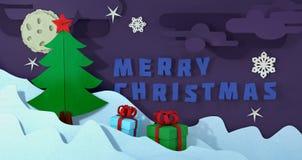 Papercut-Weihnachtsbaumpostkarte Papierhandwerks-Weihnachtshintergrund Ausschnittwinter-Weihnachtslandschaft Papier geschnittenes Lizenzfreies Stockbild
