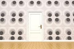 Papered wall and door Royalty Free Stock Images