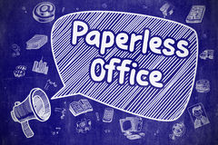 Paperless Office - Cartoon Illustration on Blue Chalkboard. Stock Photos