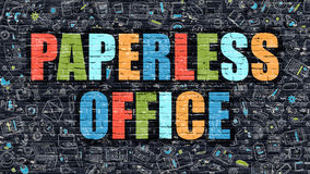 Paperless Office Concept. Multicolor on Dark Brickwall. Paperless Office Concept. Modern Illustration. Multicolor Paperless Office Drawn on Dark Brick Wall Royalty Free Stock Photo