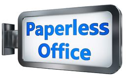 Paperless office on billboard background. Paperless office wall light box billboard background , isolated on white Stock Photos