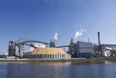 Papermill de la orilla del río Foto de archivo libre de regalías