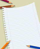 Papers. Office and School illustration (pencil and paper Royalty Free Stock Photos