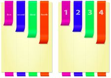 Papers with bright colored and folded bookmarks, vertical Royalty Free Stock Image