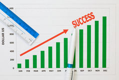 Papers charts success of business. Papers charts of success for business stock image