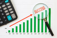 Papers charts success of business. Papers charts of success for business stock photos