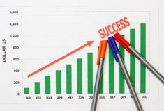 Papers charts success of business. Papers charts of success for business royalty free stock photography
