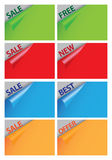 Papers with curve corner sale messages. Royalty Free Stock Photo