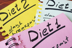 Papers with Diets. Papers with meal plan and title Diet Stock Photos
