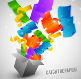 Papers fly from box very fast. Colorful papers fly from box very fast vector illustration