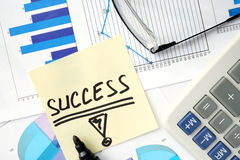 Papers with graphs  and  Business success concept. Royalty Free Stock Images