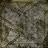 Papers and grunge filmstrip on the alienated background. Old papers and grunge filmstrip on the alienated background Royalty Free Stock Images
