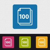 Papers Icon 100 Sheets - Colorful Vector Illustration - Isolated On Transparent Background Vector Illustration