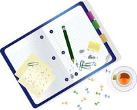 Papers, Notebook, Pen, Office Clips and Cup of Tea Vector Illustration Stock Image