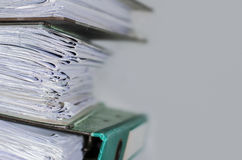Papers in old file folders Royalty Free Stock Photo