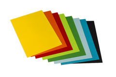 Papers for origami. Origami mixed  colorated papers on white background Royalty Free Stock Images