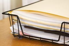 Papers Other Corner. One corner of a filing basket full of papers and folders Royalty Free Stock Images