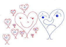 Papers People - Valentines day surprise. Picture from theme Papers People and theme Love Royalty Free Stock Photography