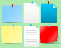 Papers and pins Royalty Free Stock Photography