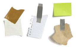 Papers and post it with white background Stock Photos