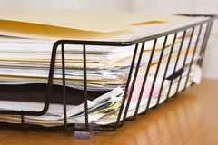Papers Right Corner. Folders and documents in a basket Stock Image