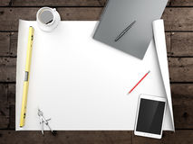 Papers with sketches on the table Royalty Free Stock Photos