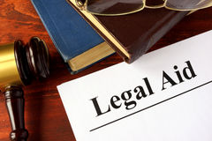Papers with title legal aid. stock photo
