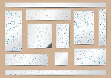 Papers. Whitepapers of different sizes with colored rectangles randomly scattered Royalty Free Stock Photos