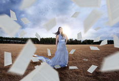 Papers and woman Royalty Free Stock Photos