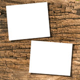 Papers on wood. White papers on ancient wood with drop shadow Stock Photos