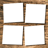 Papers on wood. White papers on ancient wood with drop shadow Royalty Free Stock Images