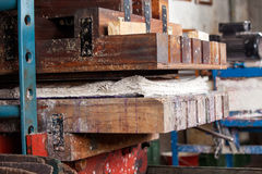 Papers In Wooden Press Machine Stock Images