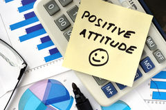 Papers with words positive attitude Stock Photo