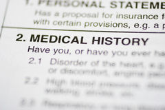 Paperwork #1 - Medical History. Insurance form about medical history Stock Image
