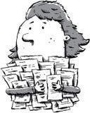Paperwork. A cartoon woman clutches a large pile of paperwork Stock Photos